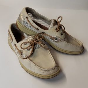 Sperry topsiders light gold and bone Size 9   b85